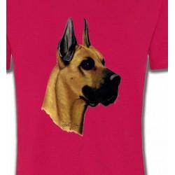 T-Shirts Dogue Allemand Tête de Dogue Allemand (F)