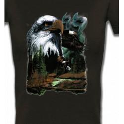 T-Shirts T-Shirts Col V Femmes Aigle royal dans la forêt