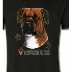 T-Shirts Staffordshire Bull terrier Tête de Staffordshire (A)