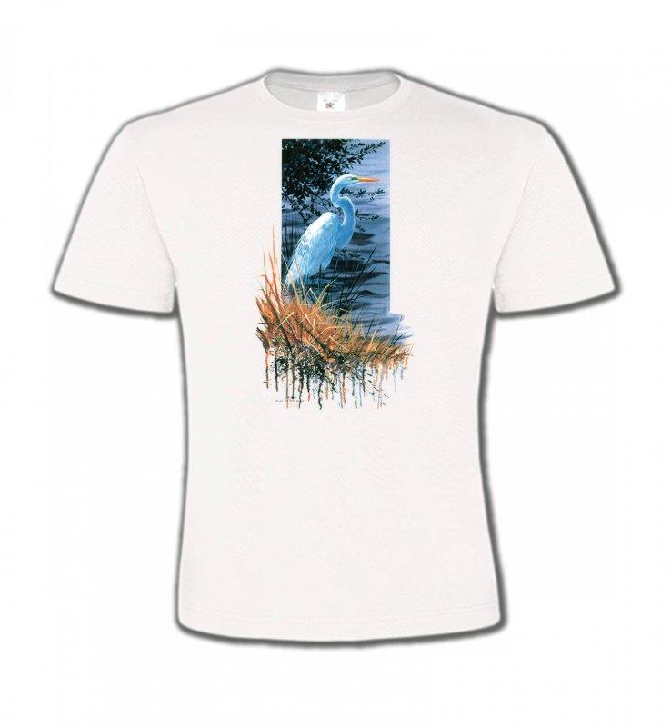 T-Shirts Col Rond EnfantsOiseaux diversHéron blanc au bord du lac