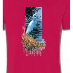 T-Shirts T-Shirts Col Rond Enfants Héron blanc au bord du lac