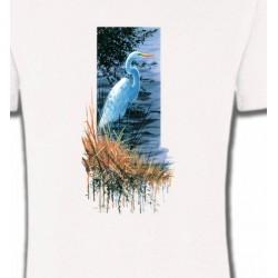 T-Shirts T-Shirts Col Rond Unisexe Héron blanc au bord du lac