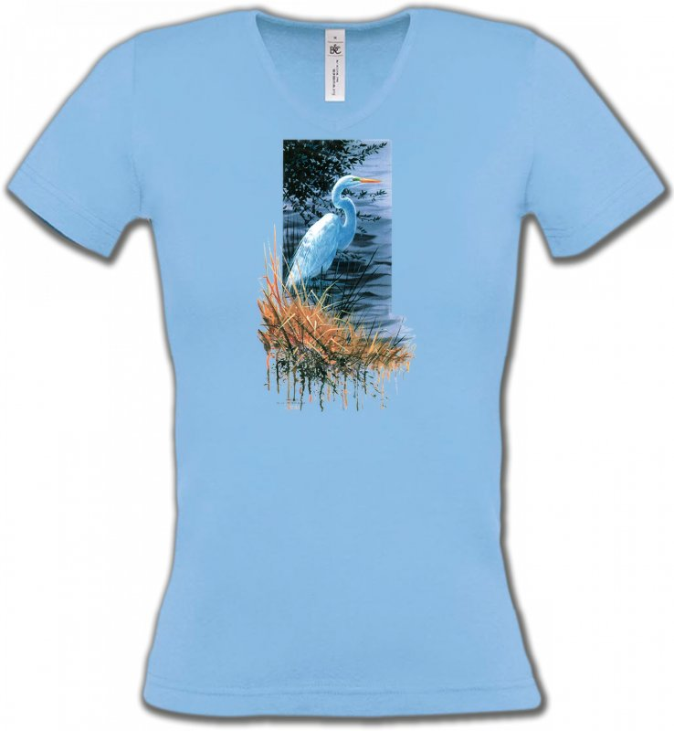 T-Shirts Col V FemmesOiseaux diversHéron blanc au bord du lac