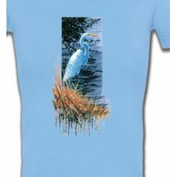 T-Shirts T-Shirts Col V Femmes Héron blanc au bord du lac