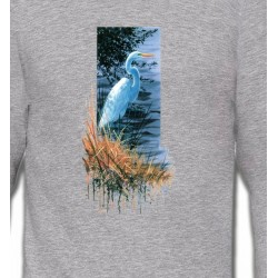 Sweatshirts Sweatshirts Unisexe Héron blanc au bord du lac