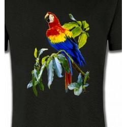 T-Shirts T-Shirts Col Rond Enfants Perroquet Ara macao dans un arbre (S)
