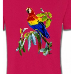 T-Shirts T-Shirts Col Rond Unisexe Perroquet Ara macao dans un arbre (S)