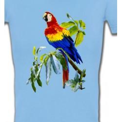 T-Shirts T-Shirts Col V Femmes Perroquet Ara macao dans un arbre (S)