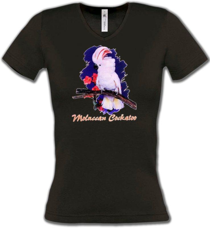T-Shirts Col V Femmesoiseaux exotiquesPerroquet Cacatoès à huppe rouge (L)