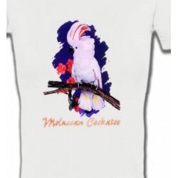 T-Shirts T-Shirts Col V Femmes Perroquet Cacatoès à huppe rouge (L)