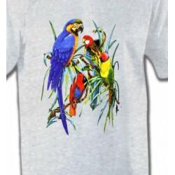 T-Shirts T-Shirts Col Rond Unisexe Perroquets Ara dans un arbre (T)