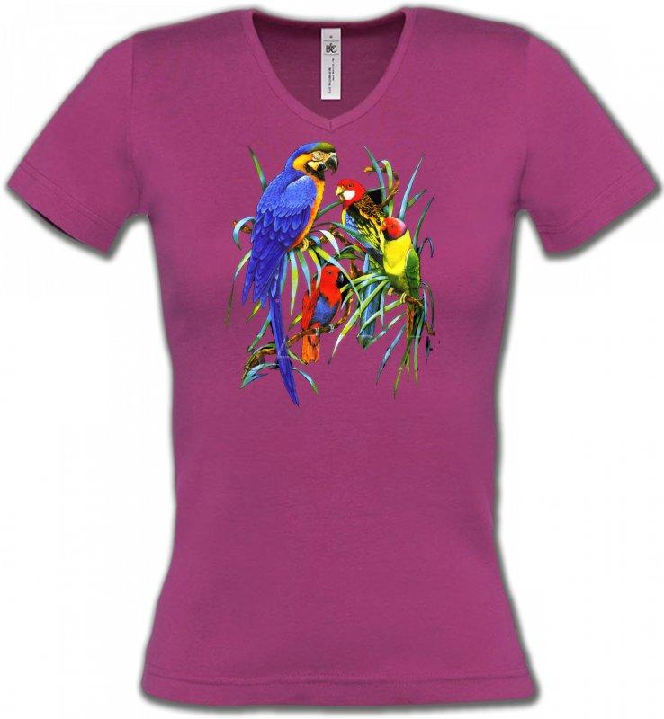 T-Shirts Col V Femmesoiseaux exotiquesPerroquets Ara dans un arbre (T)