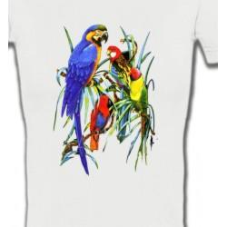 T-Shirts T-Shirts Col V Femmes Perroquets Ara dans un arbre (T)
