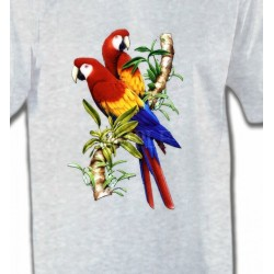 T-Shirts T-Shirts Col Rond Enfants Perroquets Ara macao sur une branche (A)