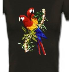 T-Shirts T-Shirts Col V Femmes Perroquets Ara macao sur une branche (A)