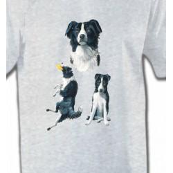 T-Shirts Border Collie Border Collie noir et blanc (B)