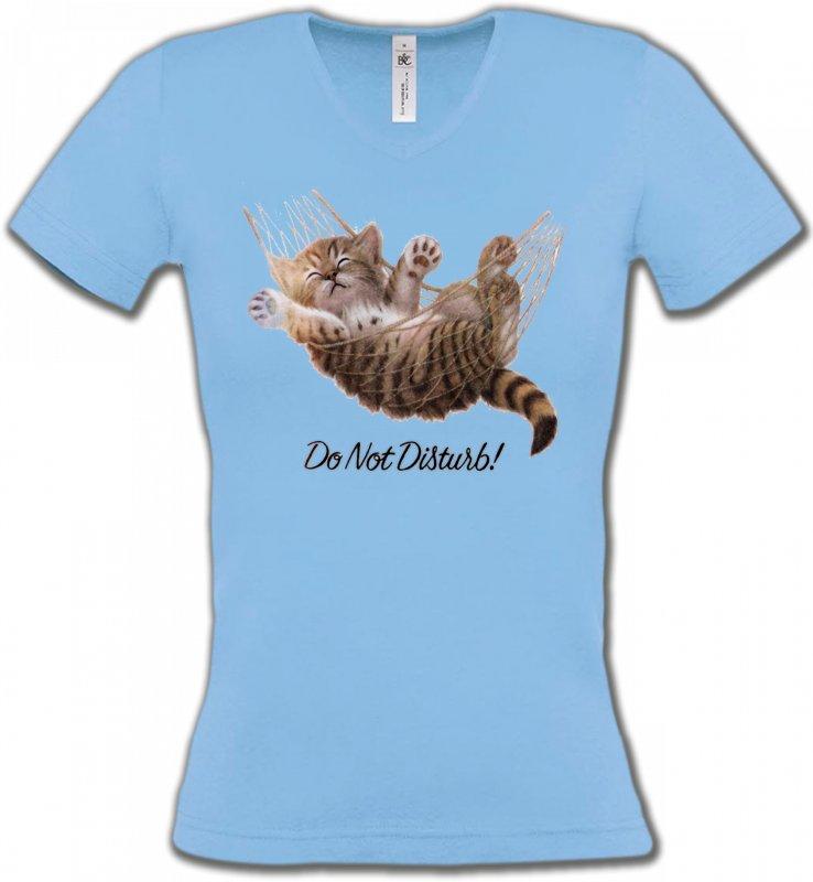 T-Shirts Col V FemmesRaces de chatsChaton dans un hamac Do not disturb
