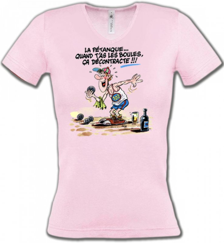 T-Shirts Col V FemmesHumour/amourHumour Pétanque (B2)