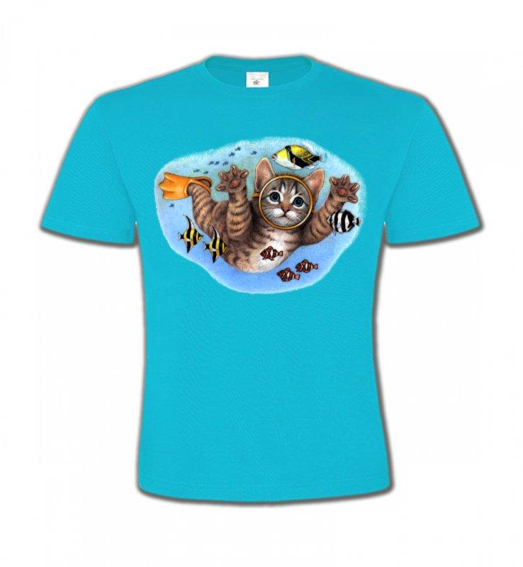 T-Shirts Col Rond EnfantsRaces de chatsChaton plongée sous marine (D)