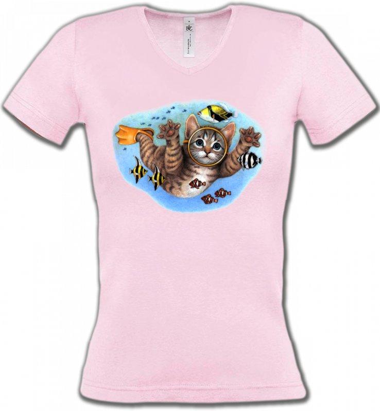 T-Shirts Col V FemmesRaces de chatsChaton plongée sous marine (D)
