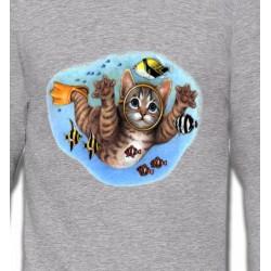 Sweatshirts Humour/amour Chaton plongée sous marine (D)