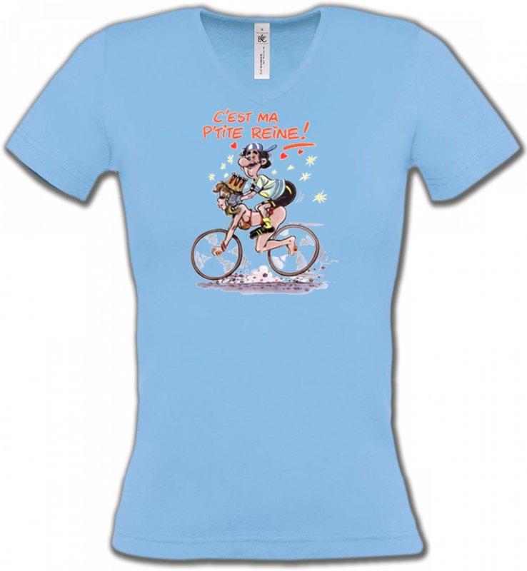 T-Shirts Col V FemmesHumour/amourHumour cycliste (V)