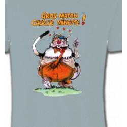 T-Shirts Races de chats Chat Humour (H) Gros matou cherche minette