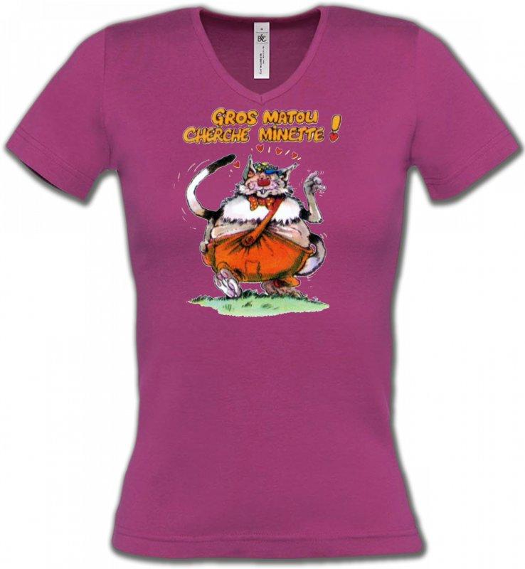 T-Shirts Col V FemmesRaces de chatsChat Humour (H) Gros matou cherche minette