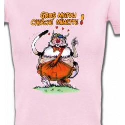 T-Shirts Humour/amour Chat Humour (H) Gros matou cherche minette
