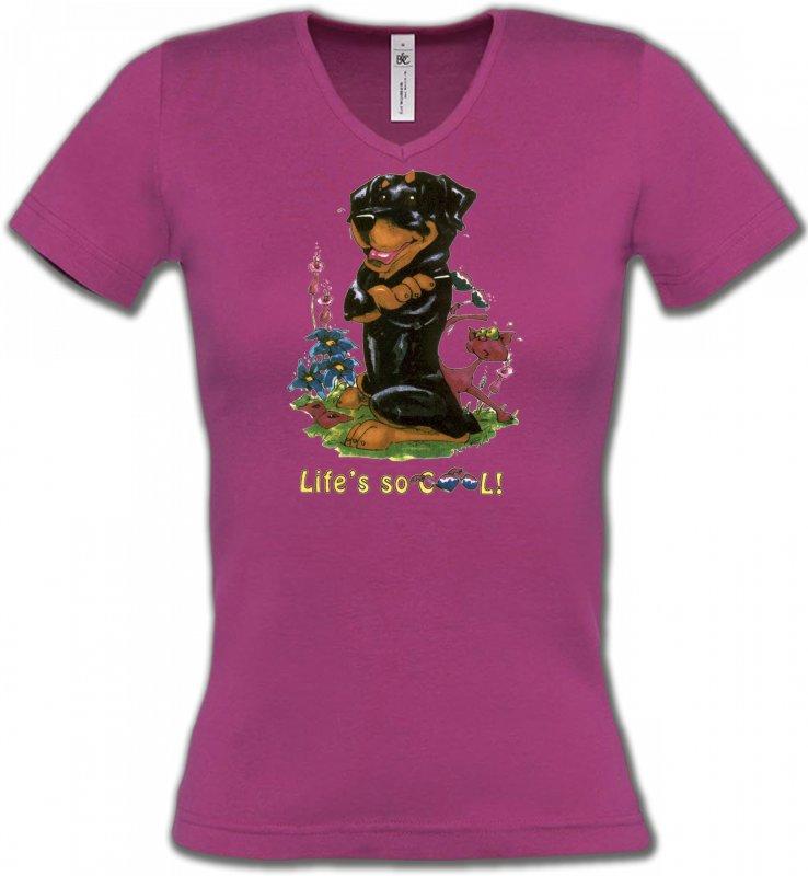 T-Shirts Col V FemmesHumour/amourRottweiler Cool (O)
