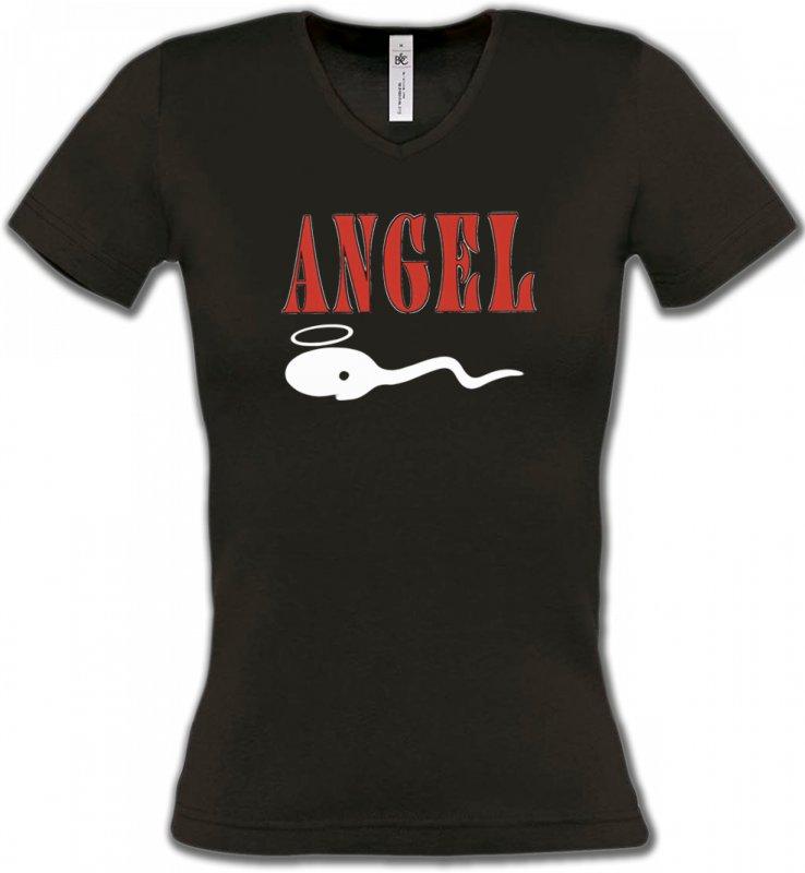 T-Shirts Col V FemmesHumour/amourHumour Angel (Z3)
