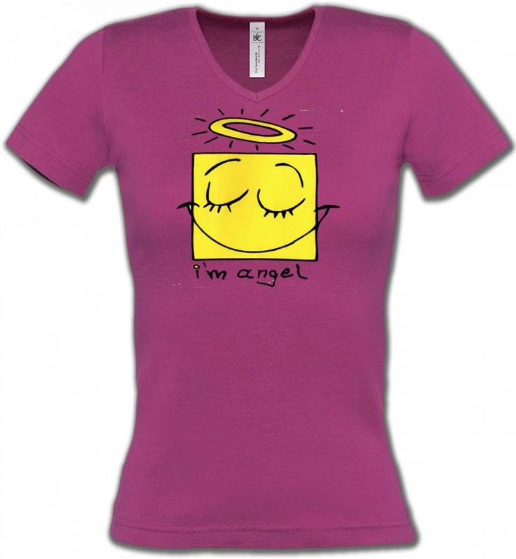 T-Shirts Col V FemmesHumour/amourHumour je suis un ange (X3)