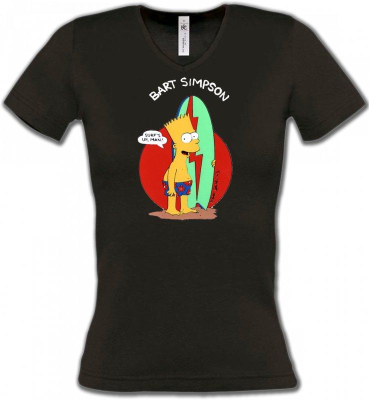 T-Shirts Col V FemmesHumour/amourBart Simpson surf (M2)