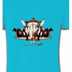 T-Shirts T-Shirts Col Rond Enfants Indien Chevaux et Crâne de Taureau (Q)