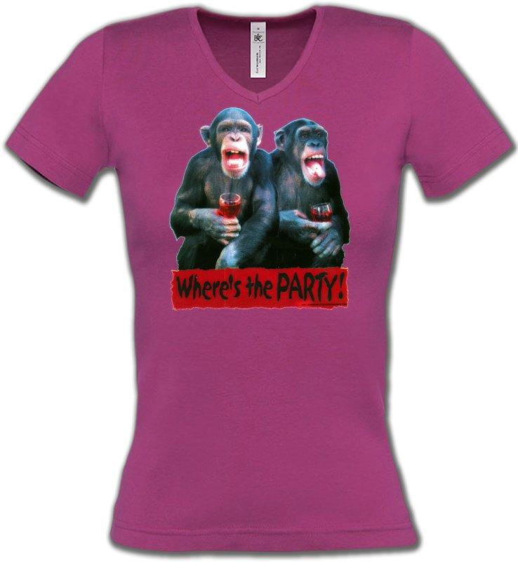 T-Shirts Col V FemmesHumour/amourSinges à l'apéro