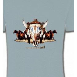 T-Shirts Indien et Amérindiens Indien Chevaux et Crâne de Taureau (Q)