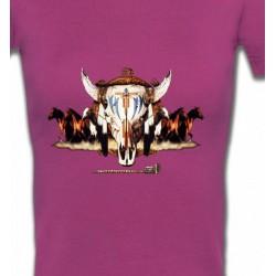 T-Shirts T-Shirts Col V Femmes Indien Chevaux et Crâne de Taureau (Q)