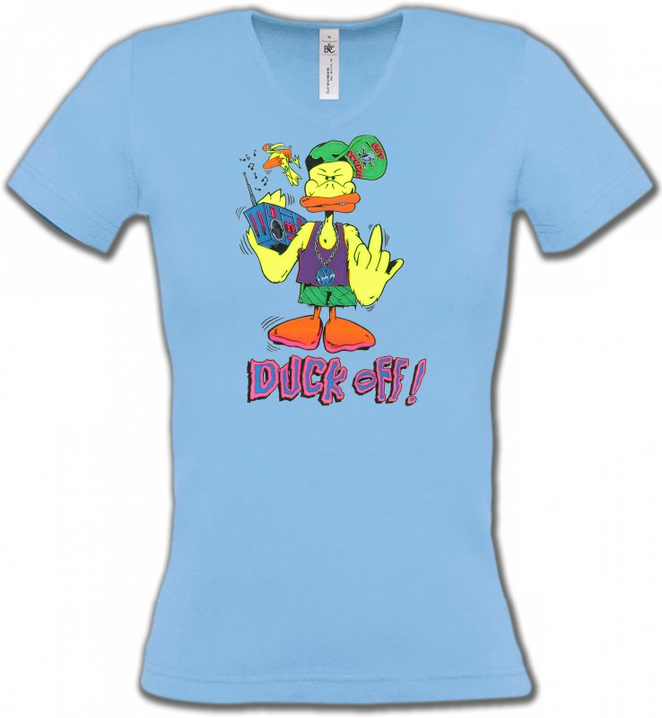 T-Shirts Col V Femmes Humour/amour Duck off