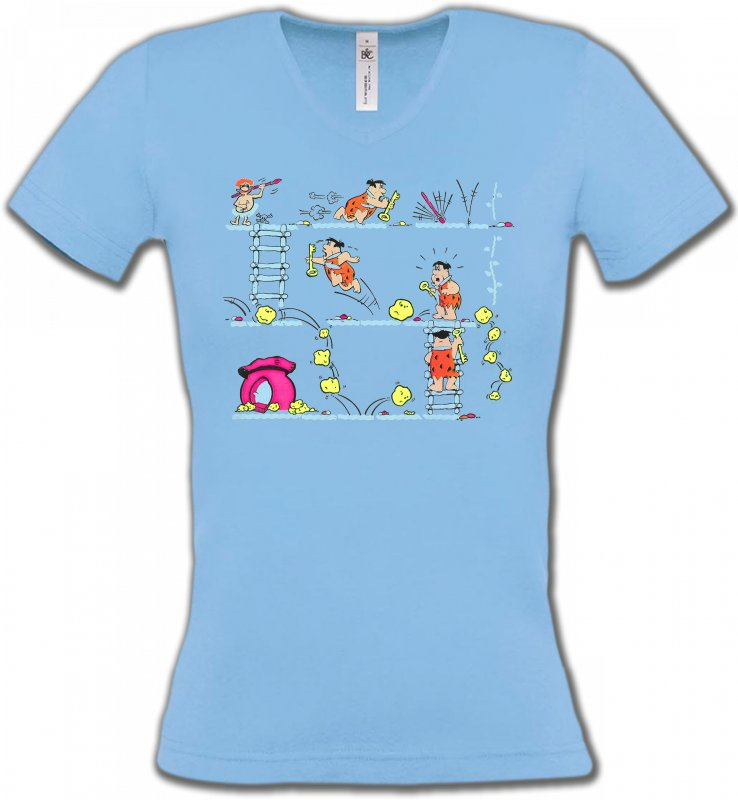 T-Shirts Col V FemmesHumour/amourLa famille Pierre à Feu (B)