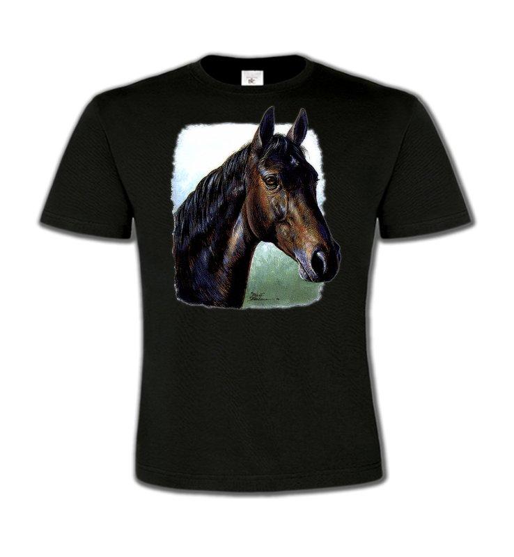 T-Shirts Col Rond EnfantsChevalCheval brun (W2)