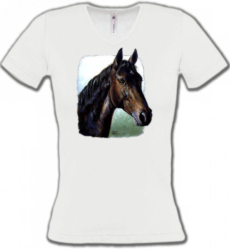 T-Shirts Col V FemmesChevalCheval brun (W2)