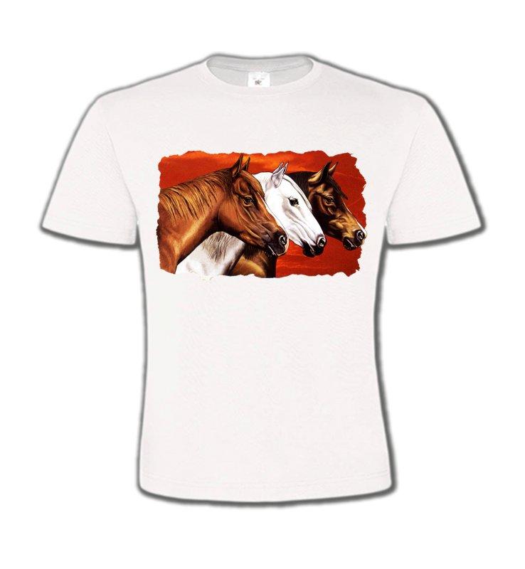 T-Shirts Col Rond EnfantsChevalTêtes de chevaux (B4)
