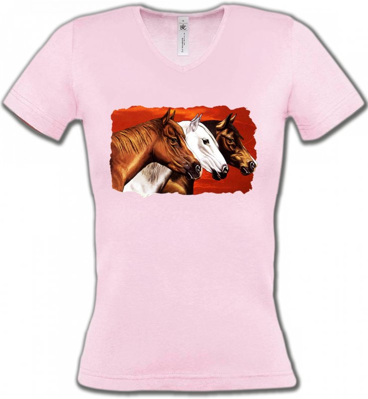 T-Shirts Col V FemmesChevalTêtes de chevaux (B4)