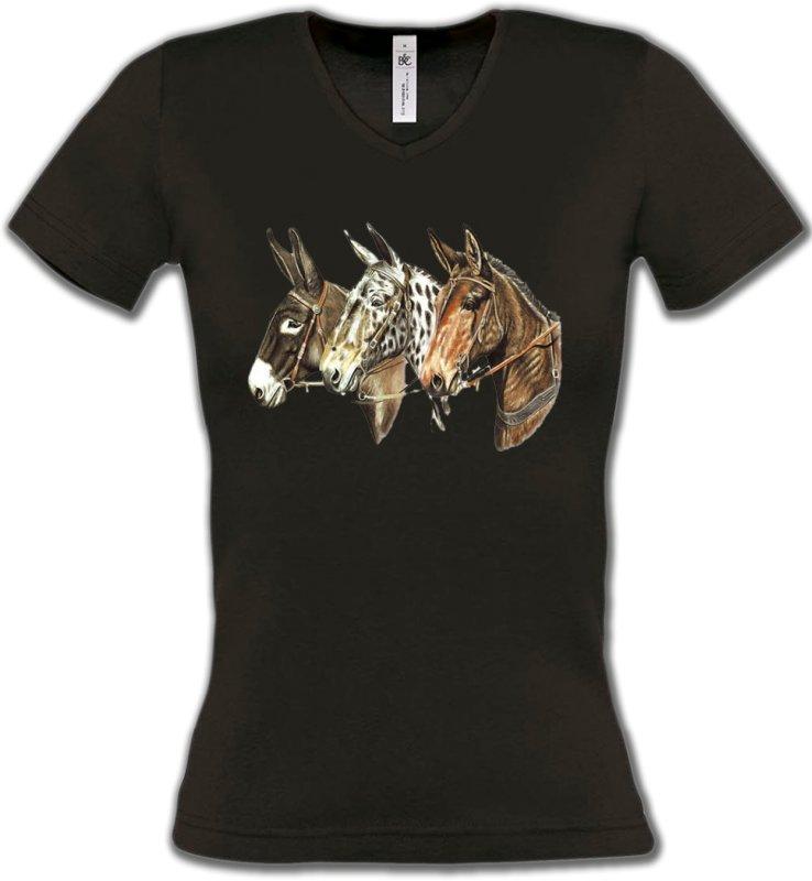 T-Shirts Col V FemmesChevalTêtes de chevaux (F)