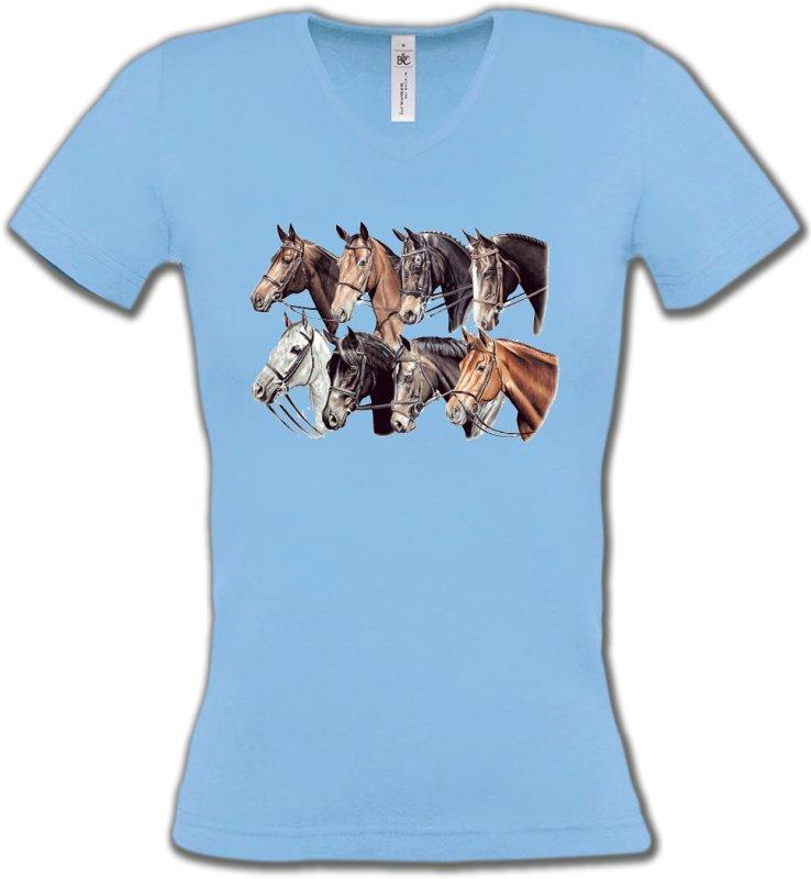 T-Shirts Col V FemmesChevalTêtes de chevaux (L2)