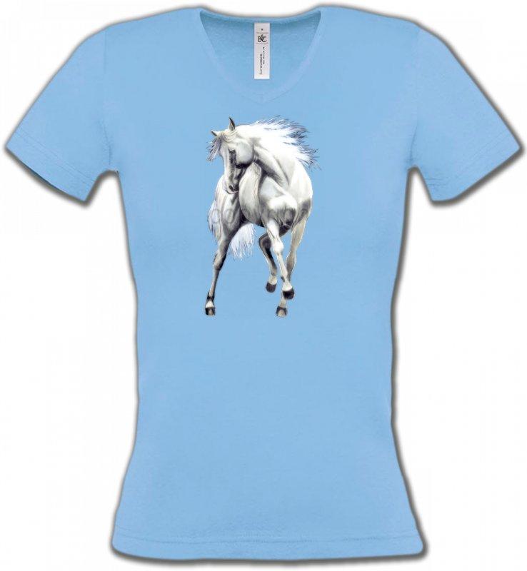 T-Shirts Col V FemmesChevalLe cheval blanc d'andalou (G2)