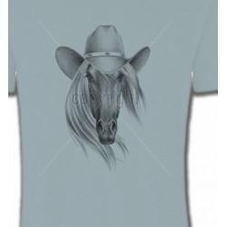 T-Shirts Cheval Tête de cheval avec chapeau (S)