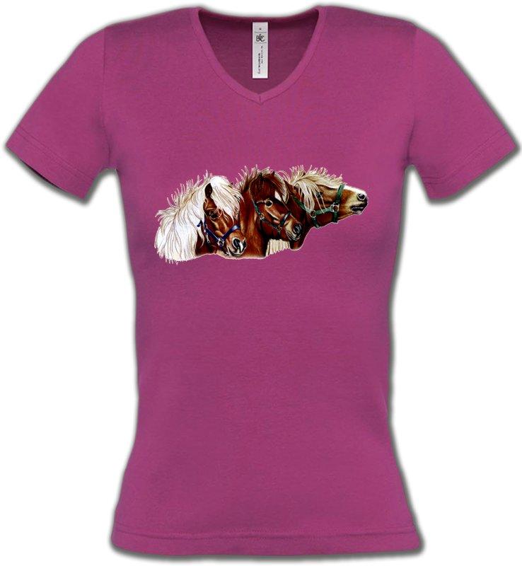 T-Shirts Col V FemmesChevalponey (X2)