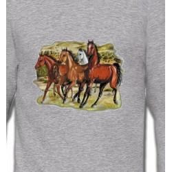 Sweatshirts Cheval Chevaux Pur sang au galop (D)