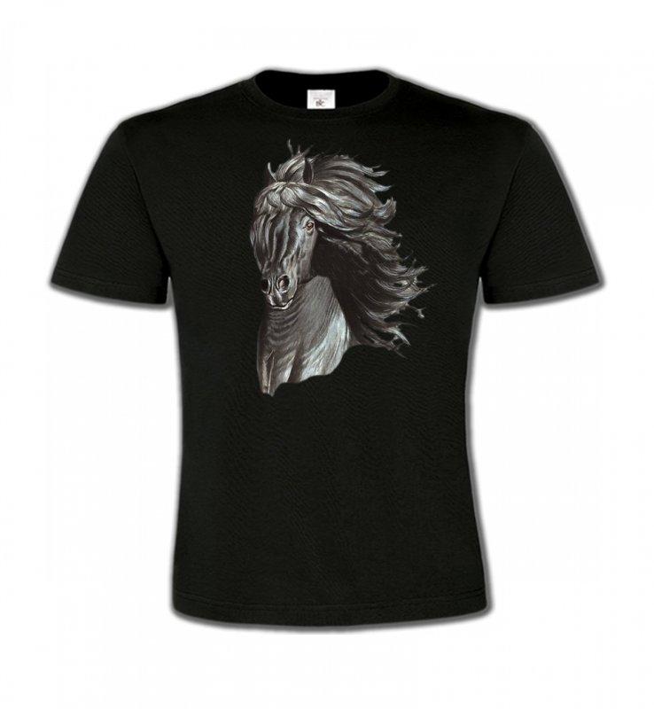 T-Shirts Col Rond EnfantsChevalTête de cheval  Frison noir (A)